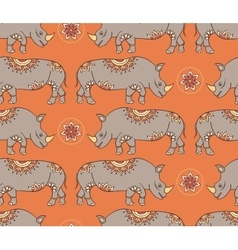 seamless pattern with colorful rhinoseroses vector image vector image