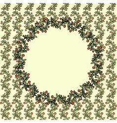 Vintage doodle Christmas background with berries vector image