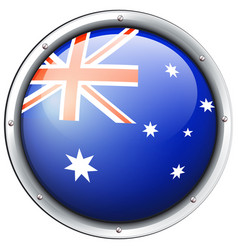 Australia flag on round badge vector