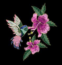embroidery hummingbird hibiscus vector image