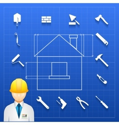 Home construction builder and tools icons vector image vector image