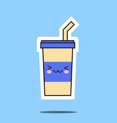 kawaii soda cup icon image vector image vector image