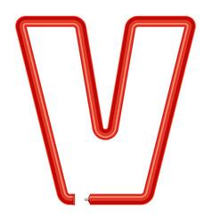letter v plastic tube icon cartoon style vector image