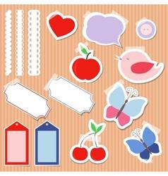 Set of cute scrapbook elements vector image vector image