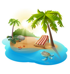 summer rest chaise lounge under palm tree on vector image vector image