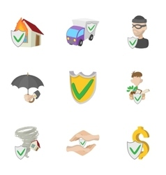 Assurance icons set cartoon style vector image vector image