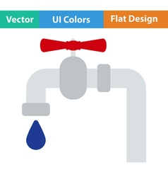 Flat design pipe with valve icon vector image