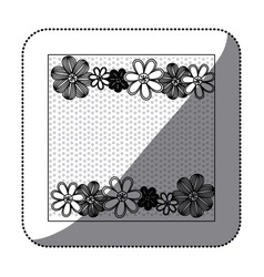 sticker monochrome pattern dotted with row flowers vector image