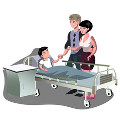 the boy is lying in bed in the hospital vector image