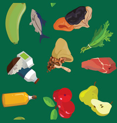 vegetables fish dried fruits greens cereals vector image vector image