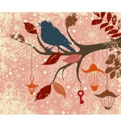 Christmas background of tree branch with bird and vector image