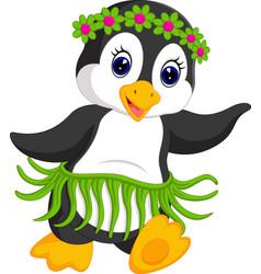 penguin cartoon dancing vector image vector image