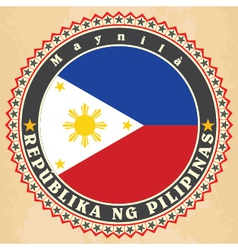 Vintage label cards of Philippines flag vector image vector image