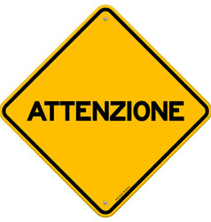 Yellow and black attenzione sign vector image vector image