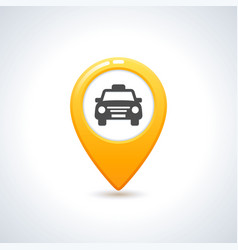 yellow taxi icon map pin with taxi car sign vector image