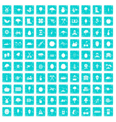 100 agriculture icons set grunge blue vector