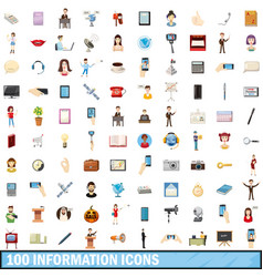 100 information icons set cartoon style vector