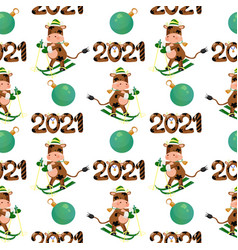 2021 new year seamless pattern with a skiing bull vector image