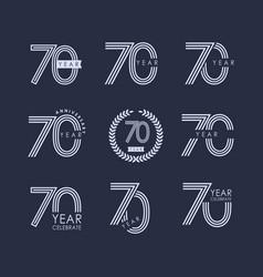 70 year anniversary set template design vector