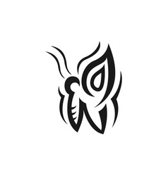 abstract butterfly icon in tribal vector image