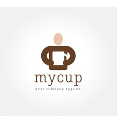 Abstract man with coffe cup logo icon concept vector