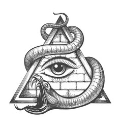 Allseeing eye in magic triangle entwined snake vector