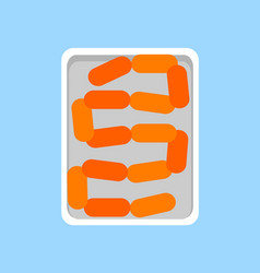 Banger sausages fresh meat product in plastic tray vector