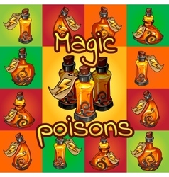 Big set of different magic poisons vector image