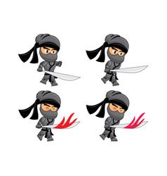 Black ninja attack game sprites template vector