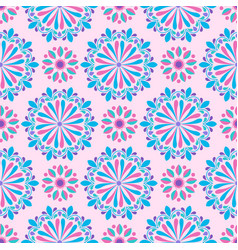 bright mandala pattern in pink-white and blue vector image