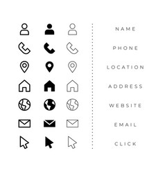 Business card icons pack in line and bold style vector