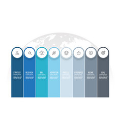 Business infographics presentation with 8 columns vector