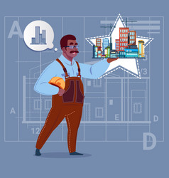 Cartoon african american builder holding small vector