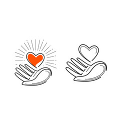 Charity life love health logo heart in hand vector