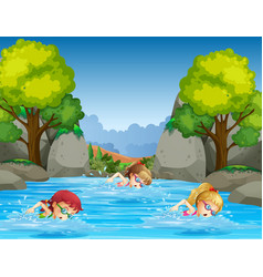 children swimming in nature vector image