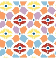 Colorful diamonds ikat geometric seamless pattern vector image
