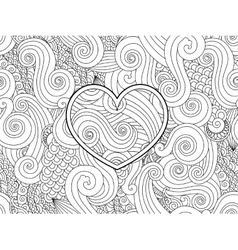 Coloring page with heart and asian wave curl vector image