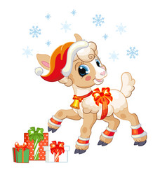 Cute christmas lamb with gifts vector