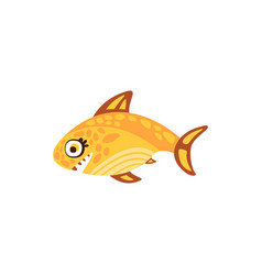 cute yellow fish sea creature hand drawn vector image