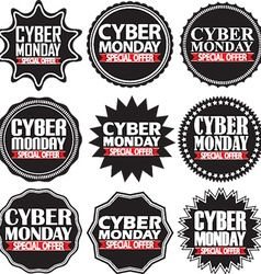 Cyber monday special offer black signs set vector image