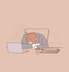 depression frustration overworking sleep stress vector image