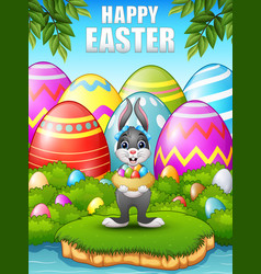 Easter bunny carrying easter nest eggs in the wood vector