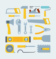 Engineer construction tools and instruments flat vector