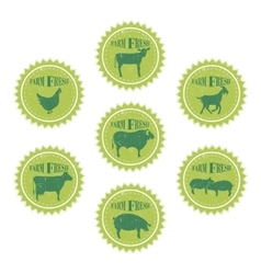 farm animals labels templates butchery shop vector image