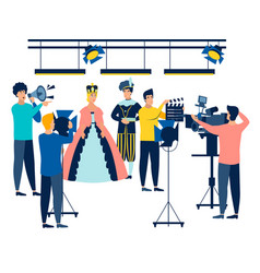 Filming actors and film industry employees in vector