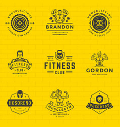 fitness logos and badges design sport equipment vector image