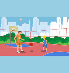 flat basketball court in park small town vector image