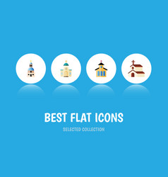 Flat icon church set of catholic religious vector