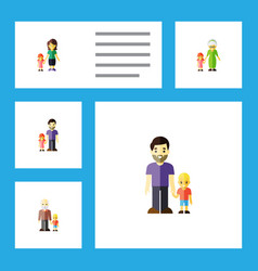 flat icon relatives set of grandchild father vector image