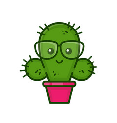 Funny cute smiling smart cactus vector